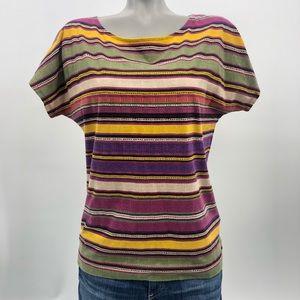 Ralph Lauren Southwest stripe print blouse tee EUC